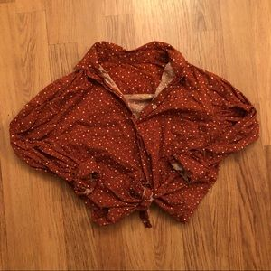 pretty rust colored ditsy floral button-up top